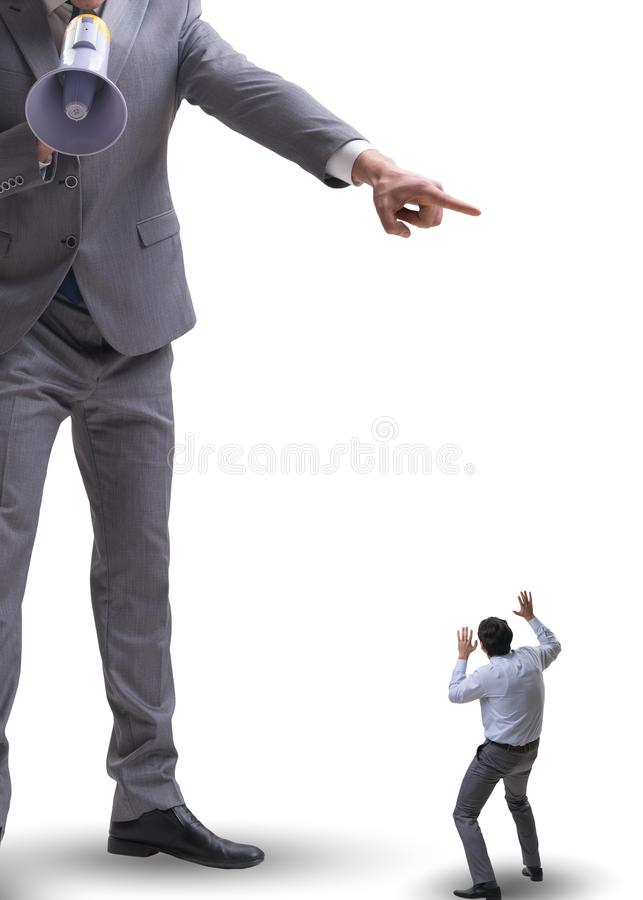 Bad angry boss shouting at employee with loudspeaker. The bad angry boss shouting at employee with loudspeaker royalty free stock photography