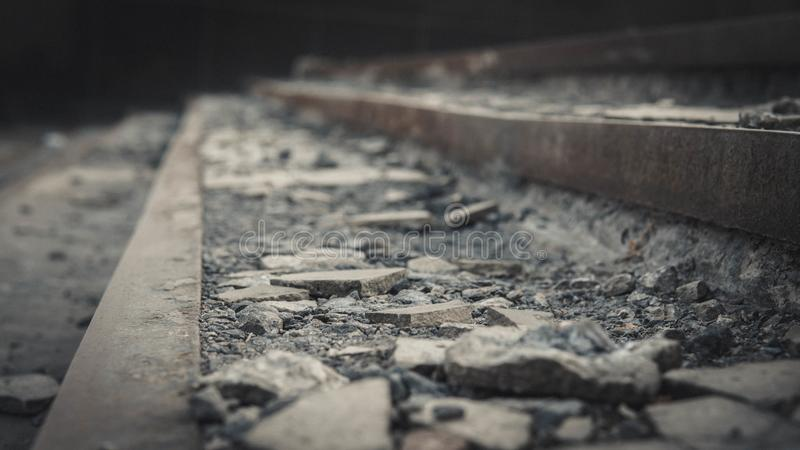 Bad asphalt road, pit on the road royalty free stock image
