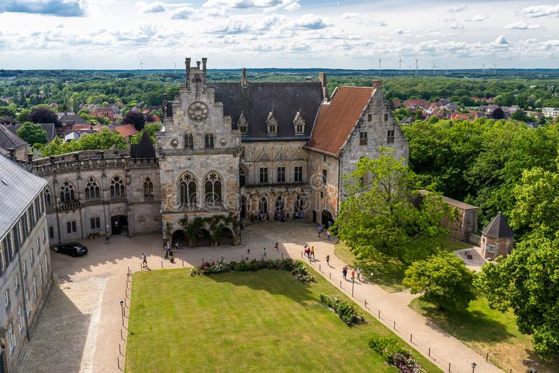 Bad Bentheim, Germany - June 9, 2019. View to the manor of the historical castle Bentheim, visible walking tourists. Largest castl royalty free stock photos