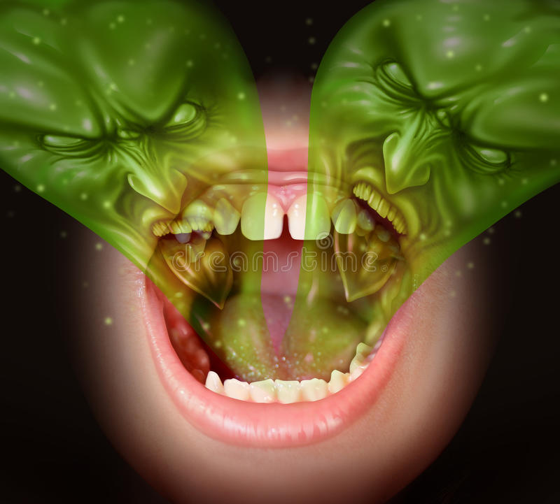 Bad Breath. As garlic smell from inside a human mouth as a health concept of an offensive foul odour caused by smoking or eating with a green gas shaped as evil