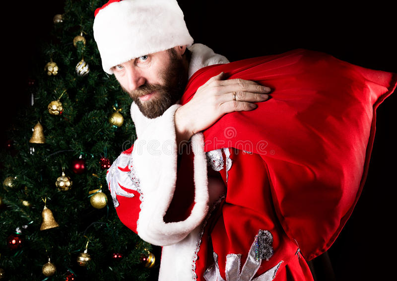 Bad brutal Santa Claus carries a bag and smiling spitefully, on the background of Christmas tree stock photos