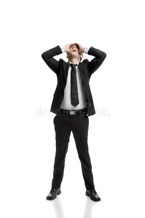 Bad business. Young businessman worried with a bad business, isolated over a white background stock images