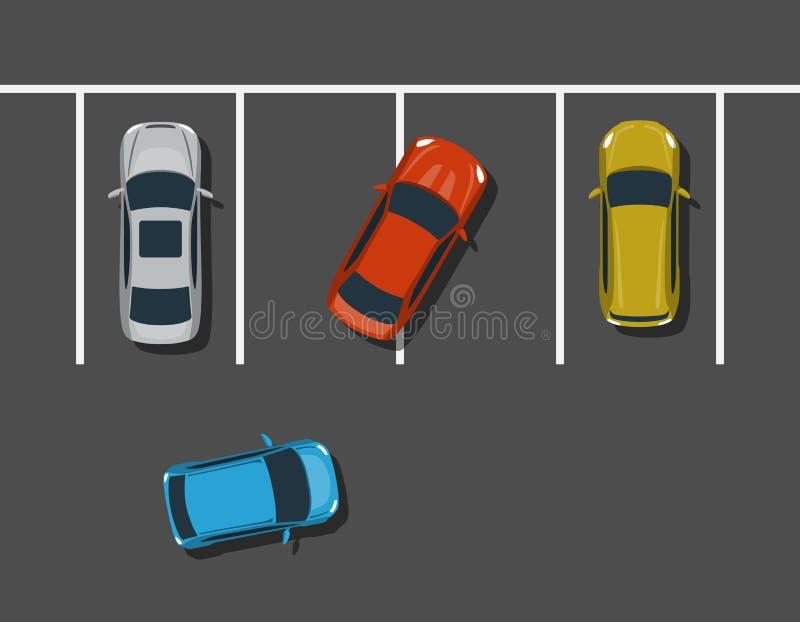 Bad car parking top view illustration. royalty free illustration