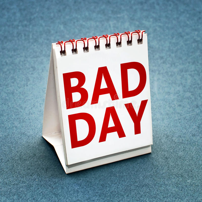 Bad day calendar. Small table calendar with words Bad day written instead of a date stock image