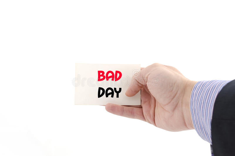 Bad day text concept. Isolated over white background stock photos