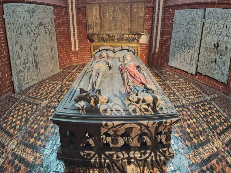 Tomb of Albert, King of Sweden, and his wife Queen Richardis in Doberan Minster, Germany. Bad Doberan, Germany. Tomb of Duke Albert III of Mecklenburg, King of stock photos