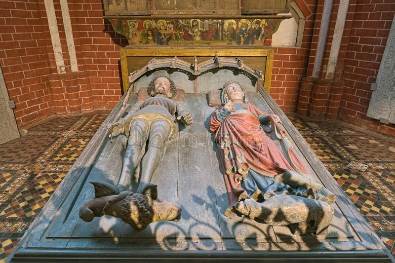 Tomb of Albert, King of Sweden, and his wife Queen Richardis in Doberan Minster, Germany. Bad Doberan, Germany. Tomb of Duke Albert III of Mecklenburg, King of royalty free stock photography