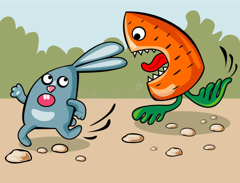 Bad dream of a rabbit. The carrot which pursues a rabbit royalty free illustration