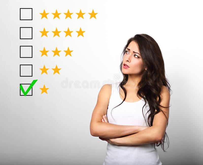 The bad, failure worst rating, evaluation, online review. One st. Ar. The time to make better your business and do something. Beautiful doubt business serious royalty free stock photo