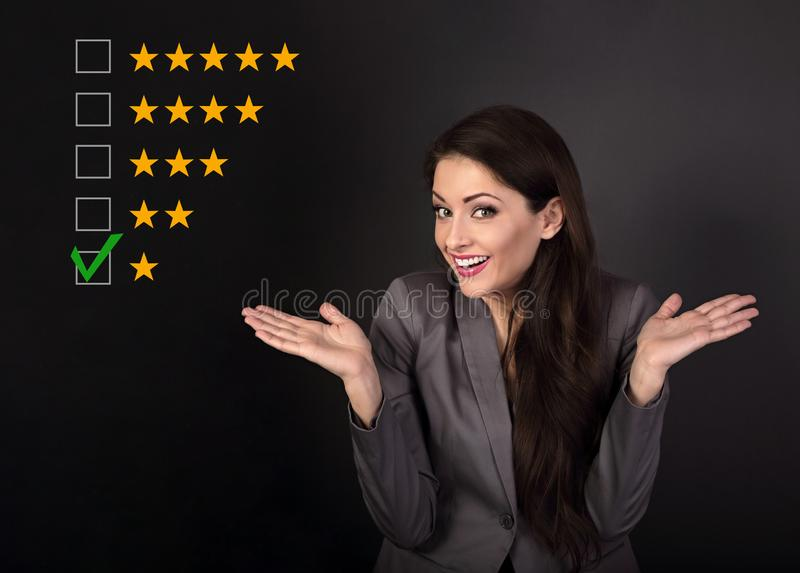 The bad, failure worst rating, evaluation, online review. One st. Ar. The time to make business better. Wonder emotional resentful business woman in suit on grey royalty free stock image