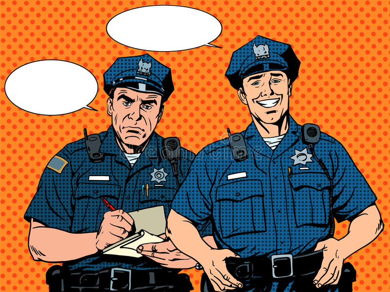 Bad good COP police. Pop art retro style vector illustration