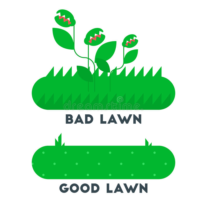 The bad and good green grass lawn concept. Vector flat design icon. Easy to edit. Cartoon style illustration royalty free illustration
