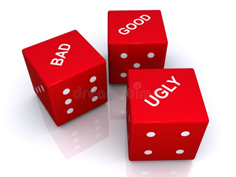 Bad good ugly dice. On white background royalty free illustration