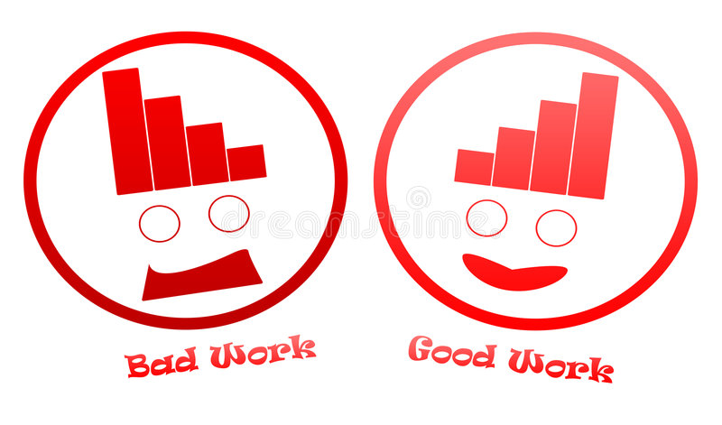Bad And Good Work Icons vector illustration