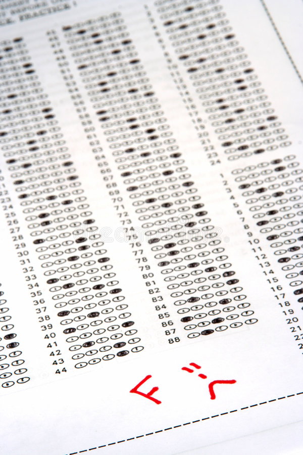 Bad Grade. Exam answer sheet with an F grade royalty free stock images