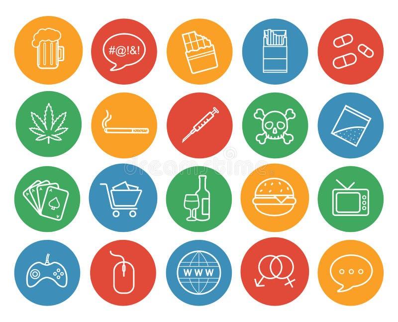 Bad habits color linear icons set vector illustration
