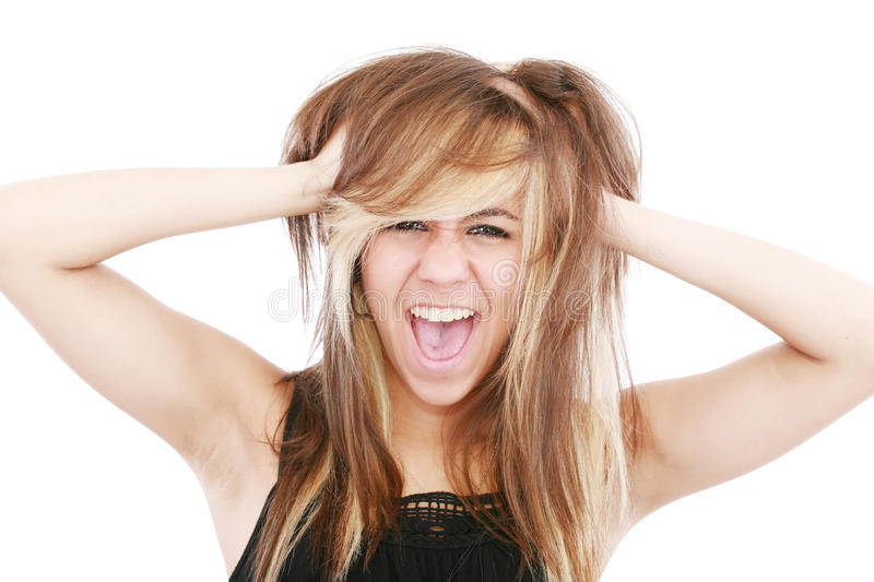Bad hair day. For frustrated lady stock images