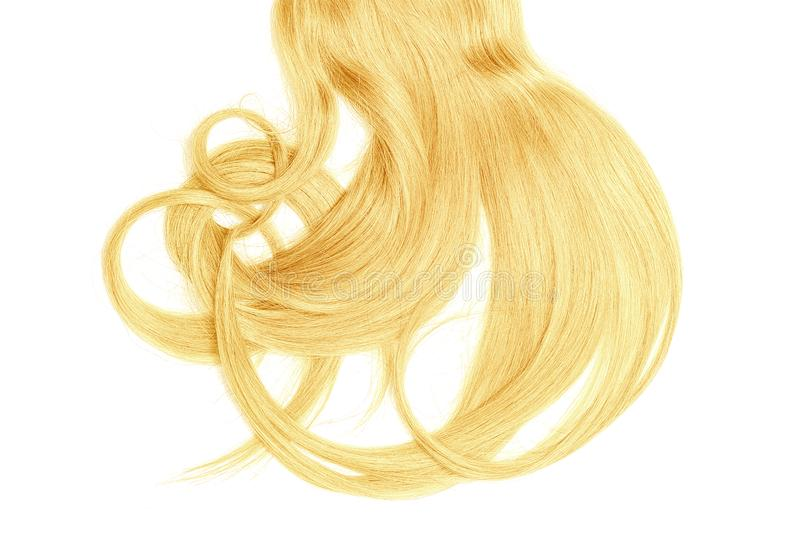Bad hair day concept. Long, blond, disheveled ponytail. Natural healthy hair isolated on white background. Detailed clipart for your collages and illustrations stock photo