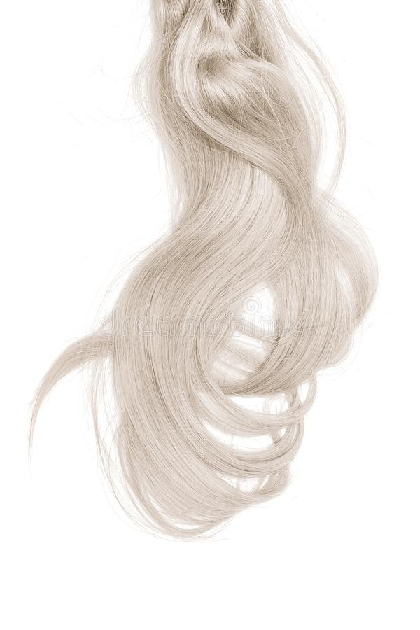 Bad hair day concept. Long, blond, disheveled ponytail. Natural healthy hair isolated on white background. Detailed clipart for your collages and illustrations stock image