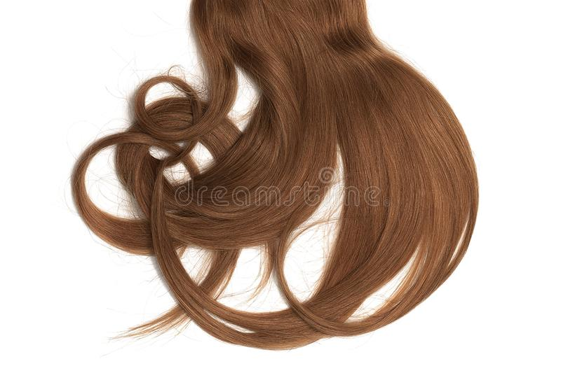 Bad hair day concept. Long, brown, disheveled ponytail. Natural healthy hair isolated on white background. Detailed clipart for your collages and illustrations royalty free stock images