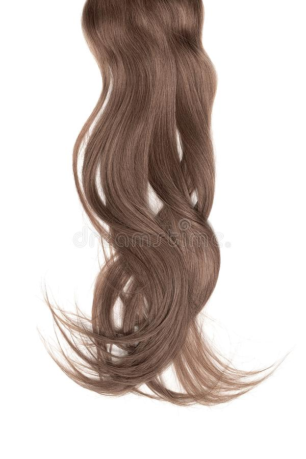 Bad hair day concept. Long, brown, disheveled ponytail. Natural healthy hair isolated on white background. Detailed clipart for your collages and illustrations stock photo