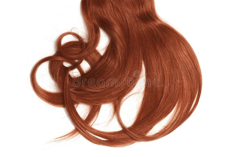 Bad hair day concept. Long, henna, disheveled ponytail. Natural healthy hair isolated on white background. Detailed clipart for your collages and illustrations stock image