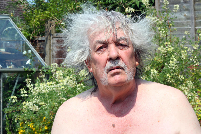 Bad hair day, a senior man. royalty free stock photography