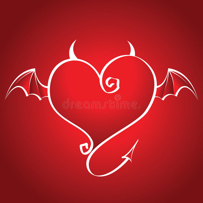 Download Bad Heart With Wings And Horns Flies On A Red Back Stock Vector - Image: 9802255