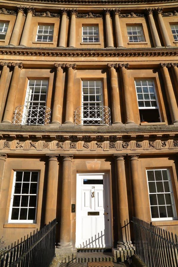 BAD, HET UK - 7 JUNI, 2014: Detail van Georgische architectuur in het Circus royalty-vrije stock fotografie