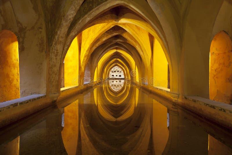 Bad i den kungliga slotten, Seville, Spanien royaltyfria foton