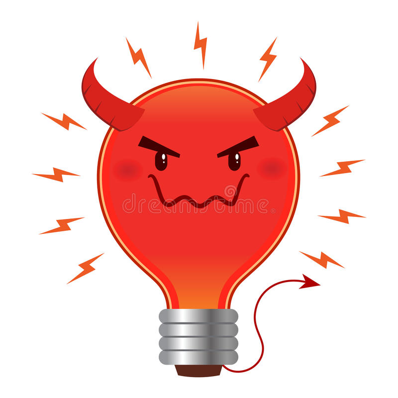 Bad Idea Evil Light Bulb With Horn And Tail. Bad idea concept, light bulb with devil horn and tail. Vector illustration royalty free illustration