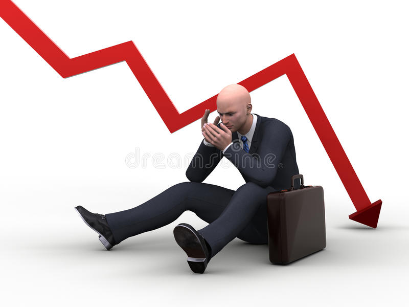 Bad investments. 3d businesman in floor with a red graphic