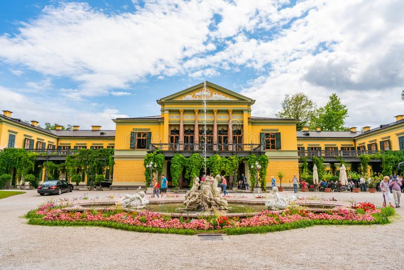 The Kaiser villa in Bad Ischl, Upper Austria. BAD ISCHL, AUSTRIA - 07 JULY 2019: The Kaiser villa in Bad Ischl, Upper Austria, surrounded by a large park, was stock photos