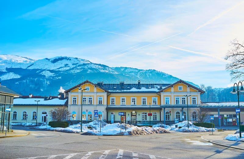 Bad Ischl Railway Station, Salzkammergut, Austria. The facade of Bad Ischl Railway station, facing Bahnhofstrasse street, Salzkammergut, Austria stock photos