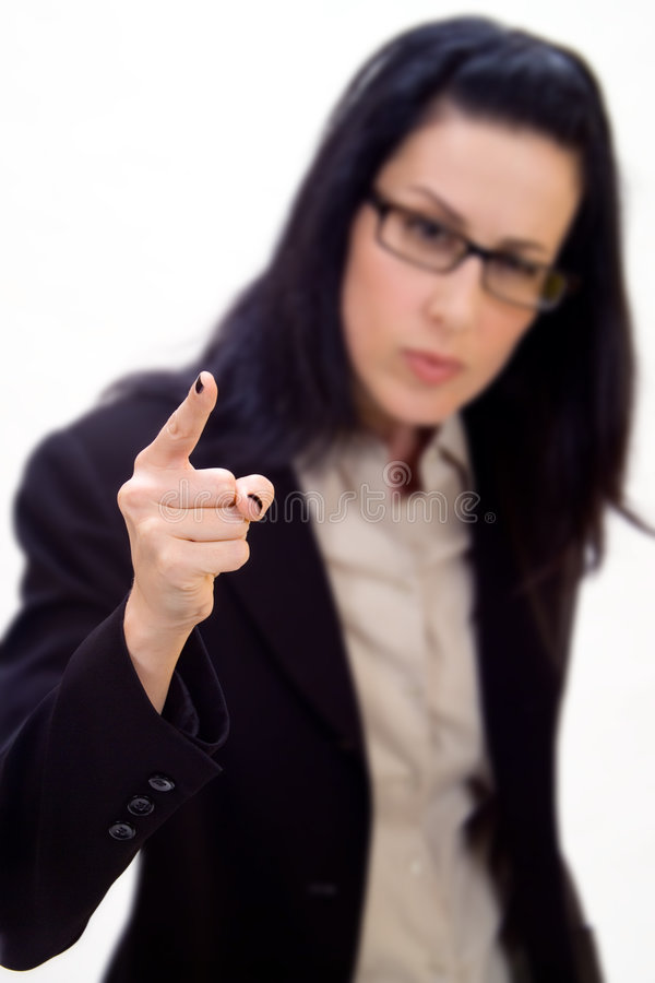 Bad Job. Female holding up finger stock image