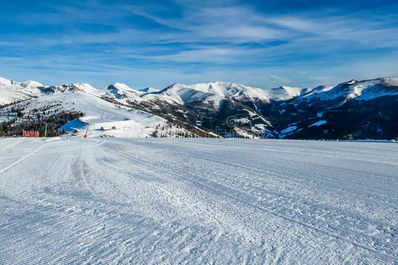 Bad Kleinkirchheim - Winter wonderland in the alps. View on the austrian alps in Bad Kleinkirchheim, Austria. Big ski resort. The slopes are perfectly gravelled stock images