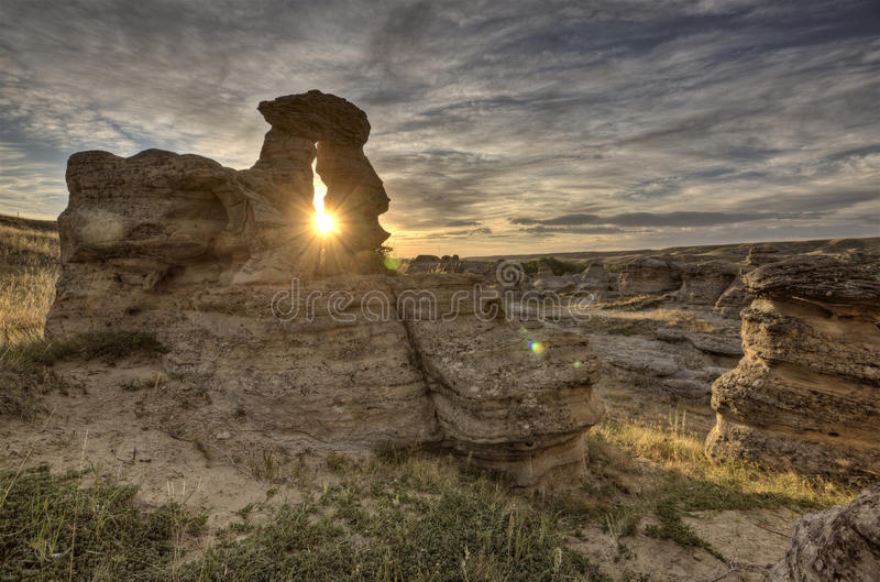 Bad-lands Alberta Canada de Hoodoo photos stock