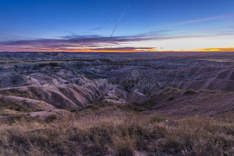 Bad-lands au coucher du soleil photographie stock libre de droits