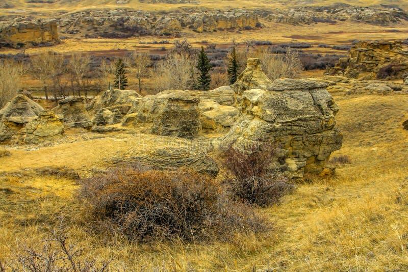 Bad-lands canadiens, écrivant sur le parc provincial en pierre, Alberta, Canada image stock