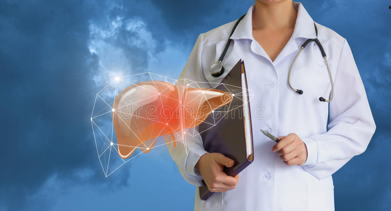 Bad liver and a doctor. royalty free stock photography