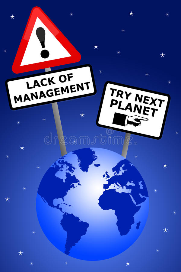 Bad management. Lack of decent management on planet earth royalty free illustration