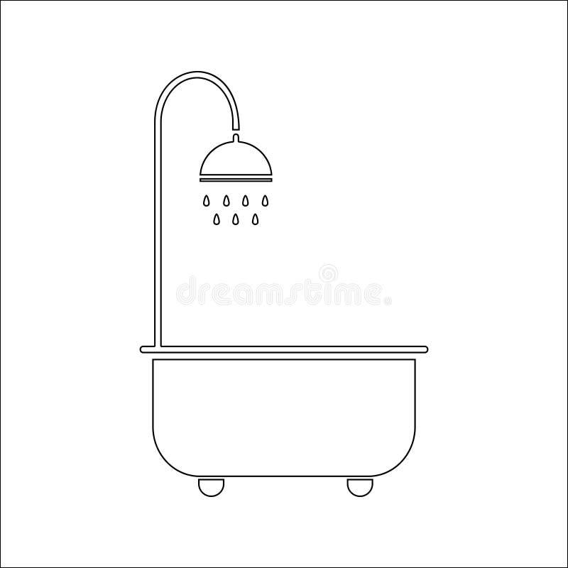Bad med duschsymbolen Beståndsdel av SPA för mobilt begrepp och rengöringsdukappssymbol Tunn linje symbol för websitedesignen och stock illustrationer