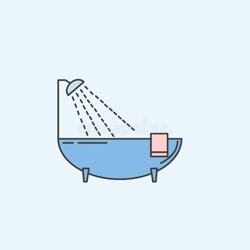bad med en öppen duschsymbol Beståndsdel av symbolen för hushåll för mobila begrepps- och rengöringsdukapps Kulört bad med en öpp royaltyfri illustrationer