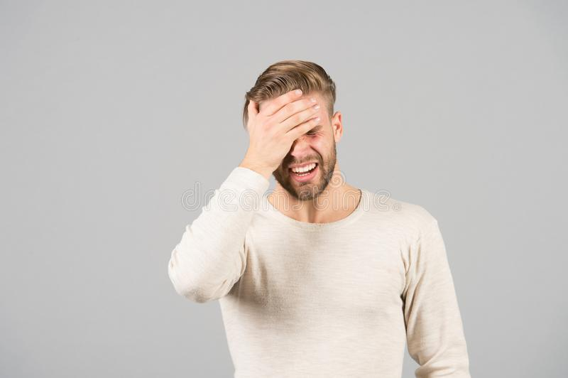 Bad memory concept. Man bearded forgetful face, grey background. Man with beard unshaven guy looks forgetfully and stock photos