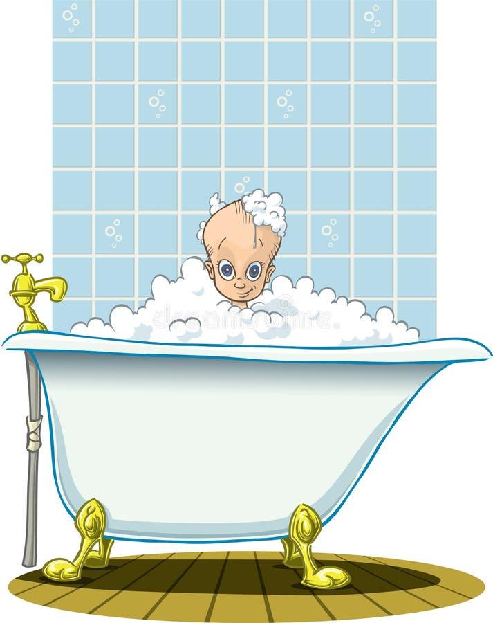 Bad met klein kind royalty-vrije illustratie