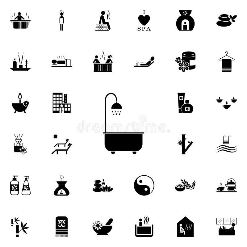 Bad mit Duschikone Ausführlicher Satz BADEKURORT-Ikonen Erstklassiges Qualitätsgrafikdesignzeichen Eine der Sammlungsikonen für W lizenzfreie abbildung