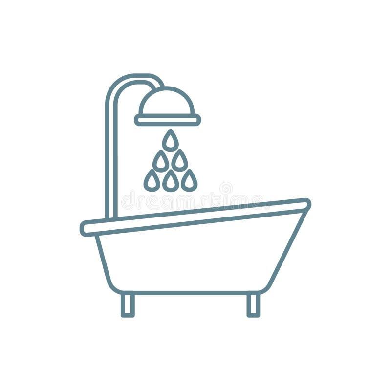 Bad mit Duschlinearem Ikonenkonzept Bad mit Duschlinie Vektorzeichen, Symbol, Illustration vektor abbildung