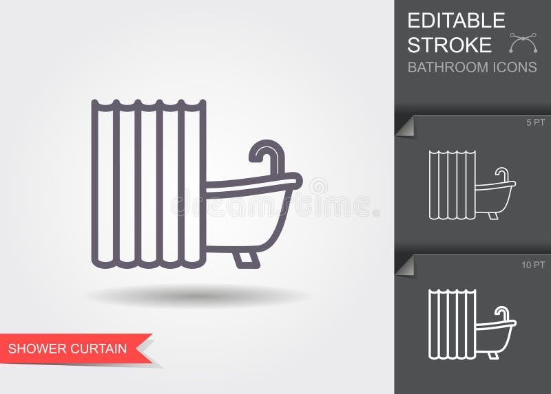 Bad mit Duschvorhang Linie Ikone mit editable Anschlag mit Schatten stock abbildung