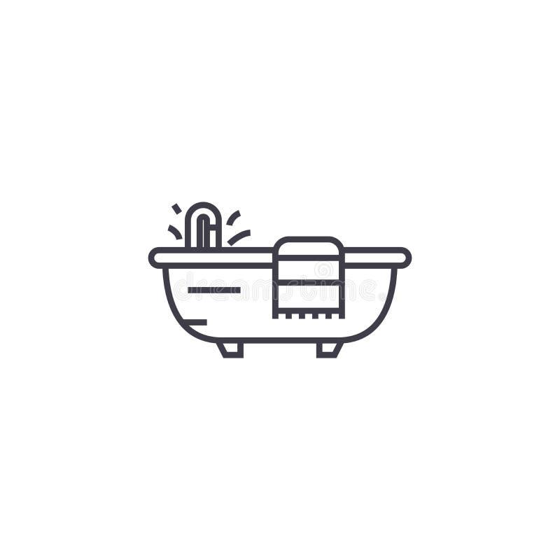 Bad mit einer Tuchvektorlinie Ikone, Zeichen, Illustration auf Hintergrund, editable Anschläge lizenzfreie abbildung