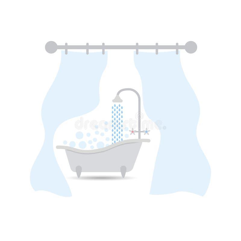 Bad mit Vorhang Das Badezimmer mit einem Vorhang für ein Badezimmer oder eine Dusche Innenillustration auf lokalisiertem Hintergr vektor abbildung